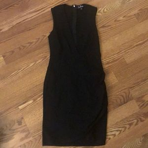 Lulus cocktail hour black wrap dress.